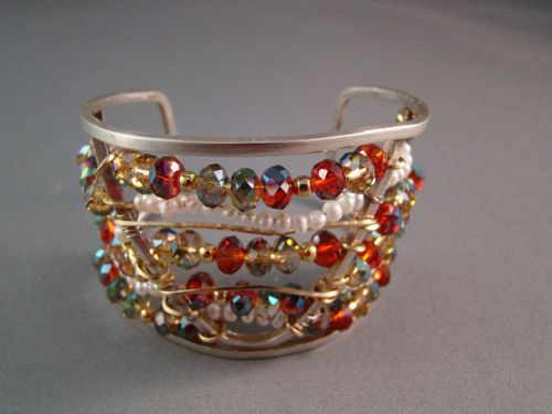 Silver Cuff with Red Crystals