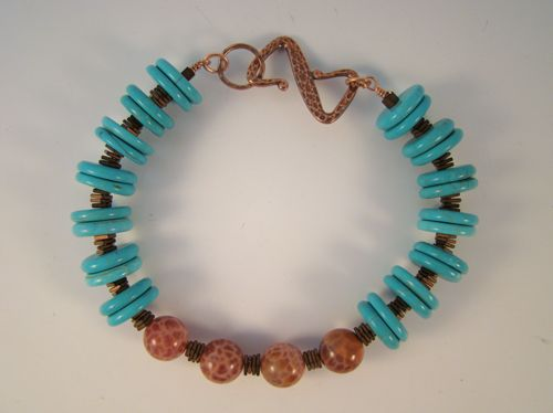 Turquise and Fire Agate Bracelet by Rodney Casebier