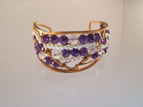 Copper and Amethyst Cuff
