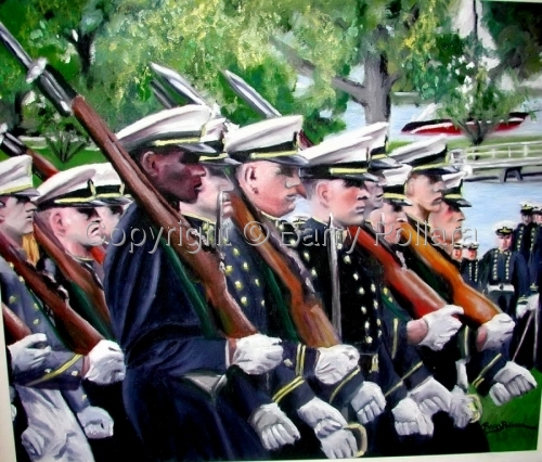 Naval Academy Homecoming Parade 2002 by Barry Pollara Art