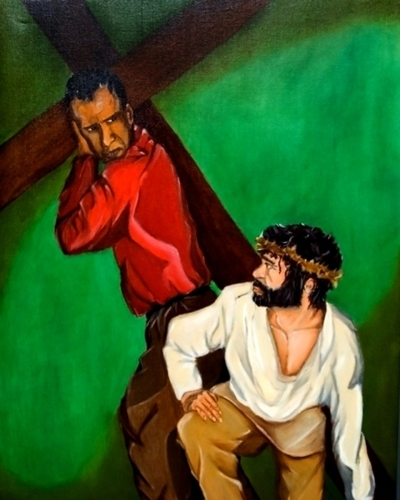 Station V: The Cross is Laid on Simon of Cyrene