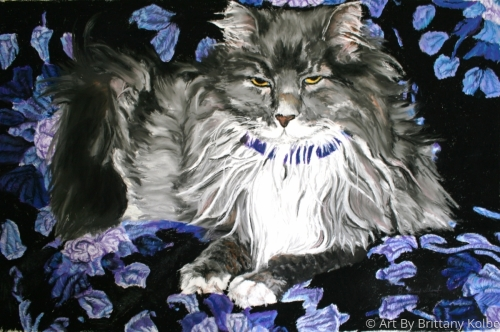 Scraps Poses on Purple Granny Square Afgan by Art By Brittany Kolbe