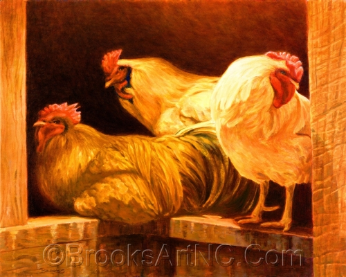 Boys Only (Roosters) by Brooks Art NC.Com