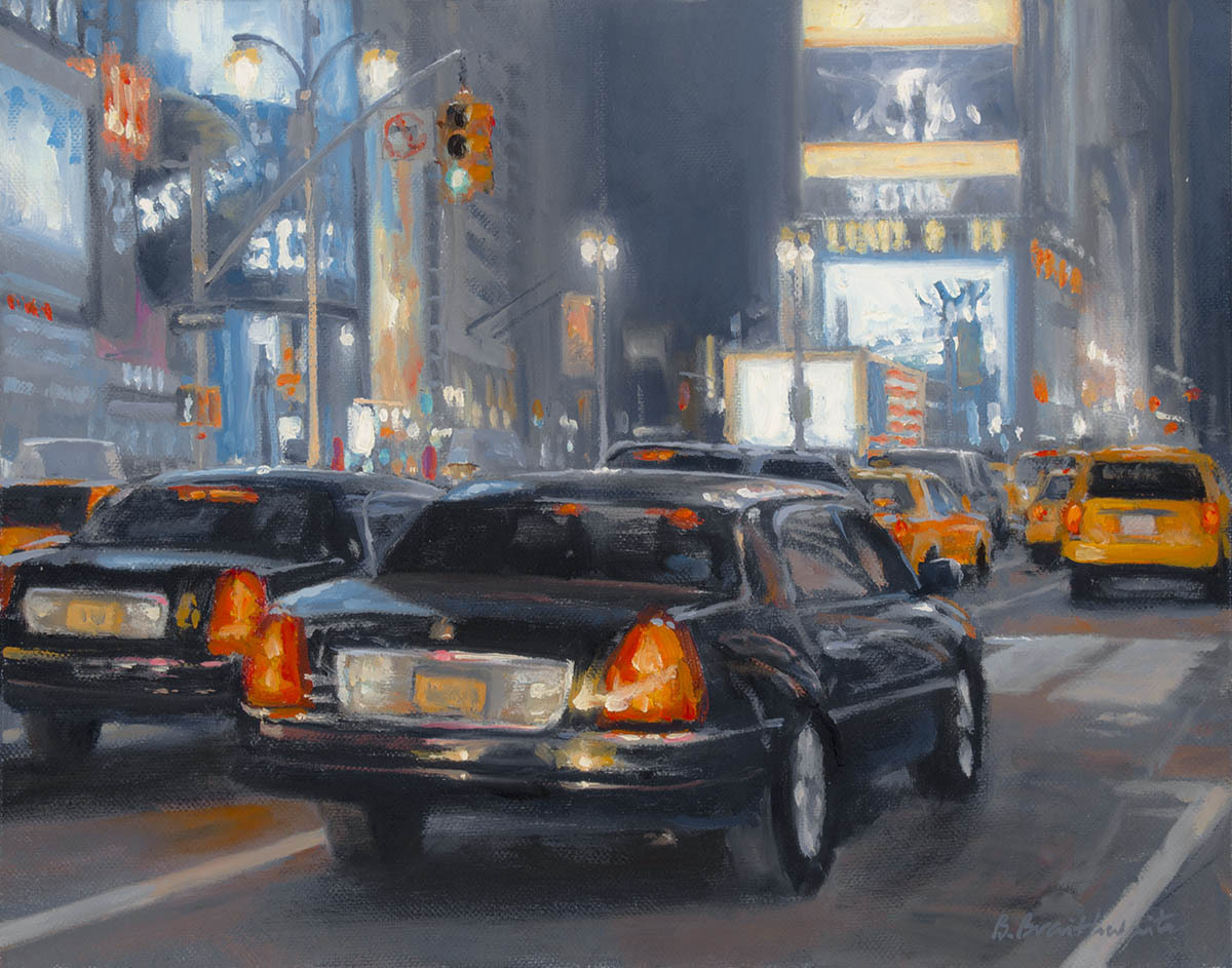 Contemporary realist oil painting of New York city places and street scenes featuring Times Square at night. (large view)