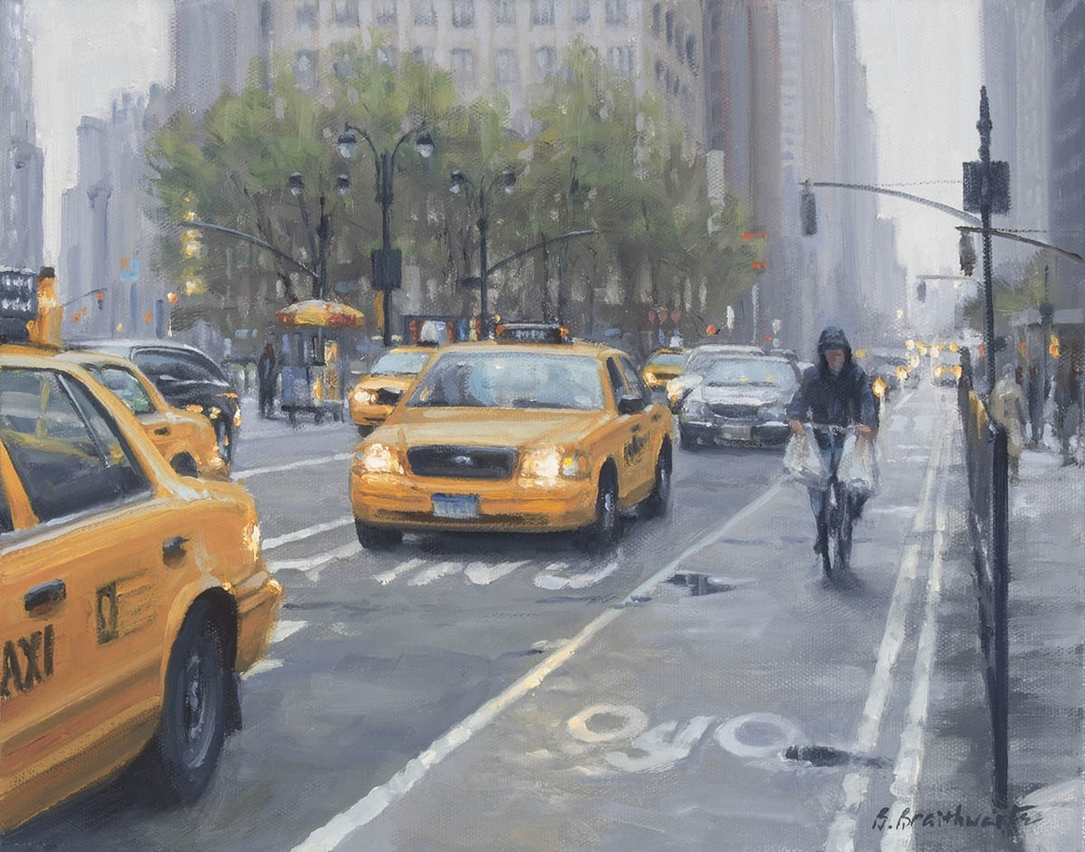 Contemporary realist oil painting of New York city places and street scenes featuring Broadway crossing Sixth Avenue on overcast day. (large view)