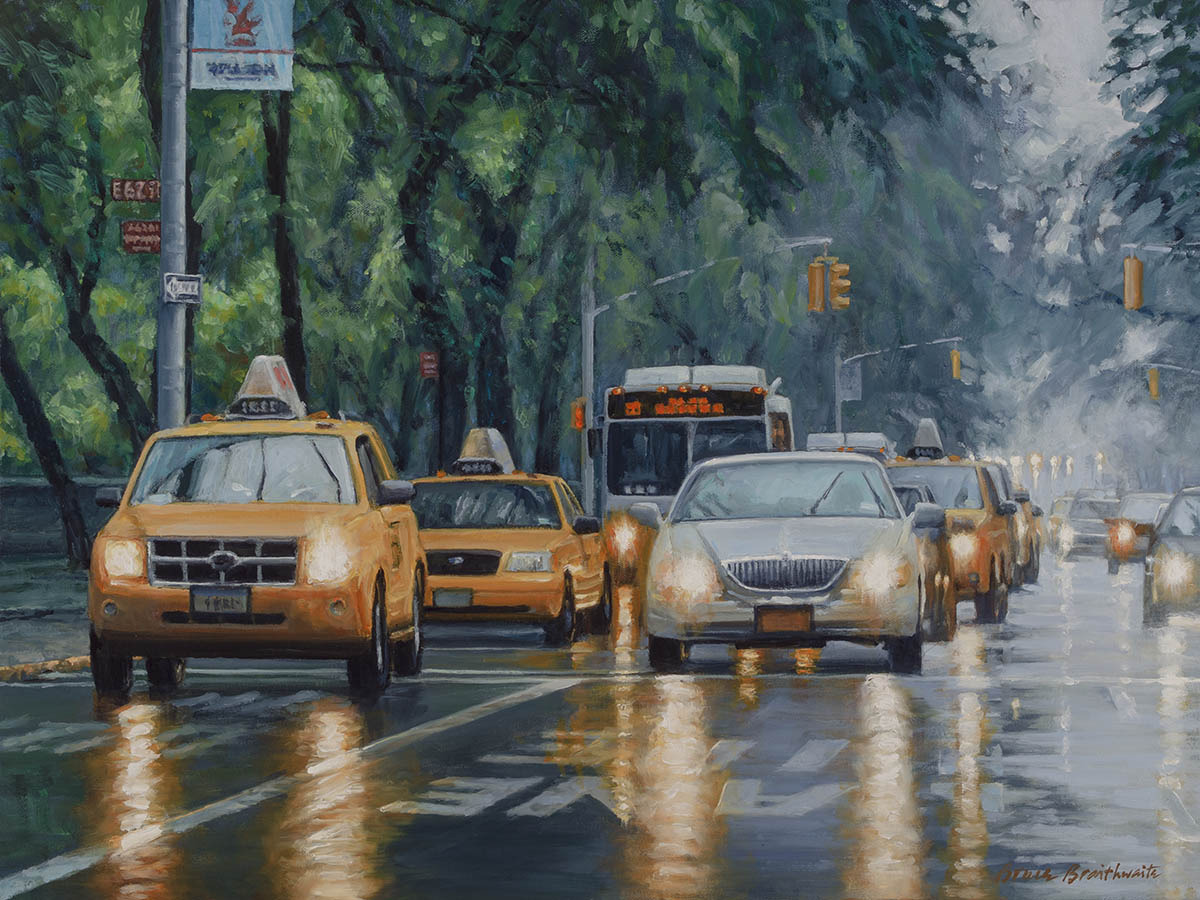 Traffic on Fifth Avenue along Central Park on rain reflections (large view)