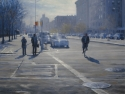 Contemporary realist oil painting of New York city places and street scenes featuring Harlem. (thumbnail)