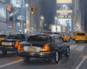 Contemporary realist oil painting of New York city places and street scenes featuring Times Square at night. (thumbnail)