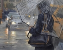 Contemporary realist oil painting of New York city places and street scenes featuring Eighth Avenue in rain. (thumbnail)