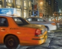 Contemporary realist oil painting of New York city places and street scenes featuring street work at night. (thumbnail)