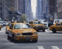 Contemporary realist oil painting of New York city places and street scenes featuring south view of Avenue of the Americas from Central Park South. (thumbnail)