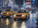 cabs driving through Times Square at night and in the rain (thumbnail)