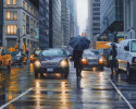 Street scene of Madison Avenue in rain (thumbnail)