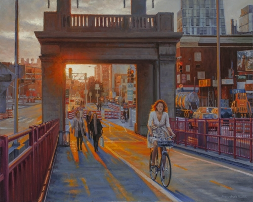 Contemporary realist oil painting of New York city places and street scenes featuring the gate of the Williamsburg Bridge at sunset. (large view)