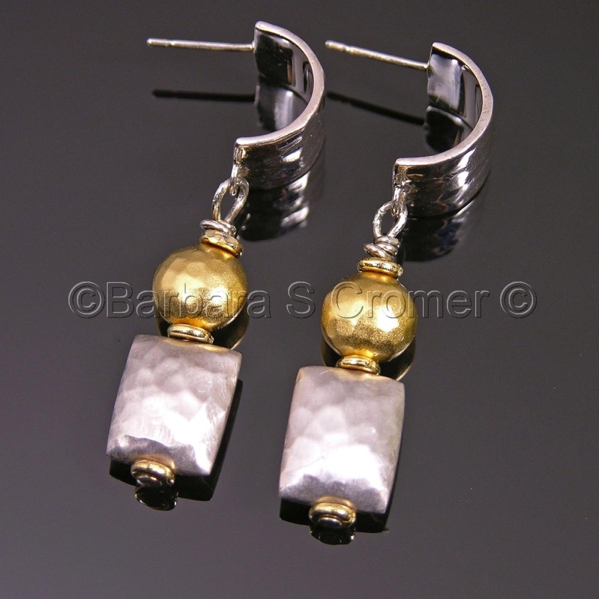 Modern silver + vermeil earrings (large view)