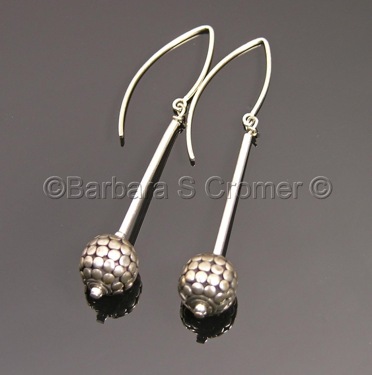 Bali silver orbs earrings (large view)