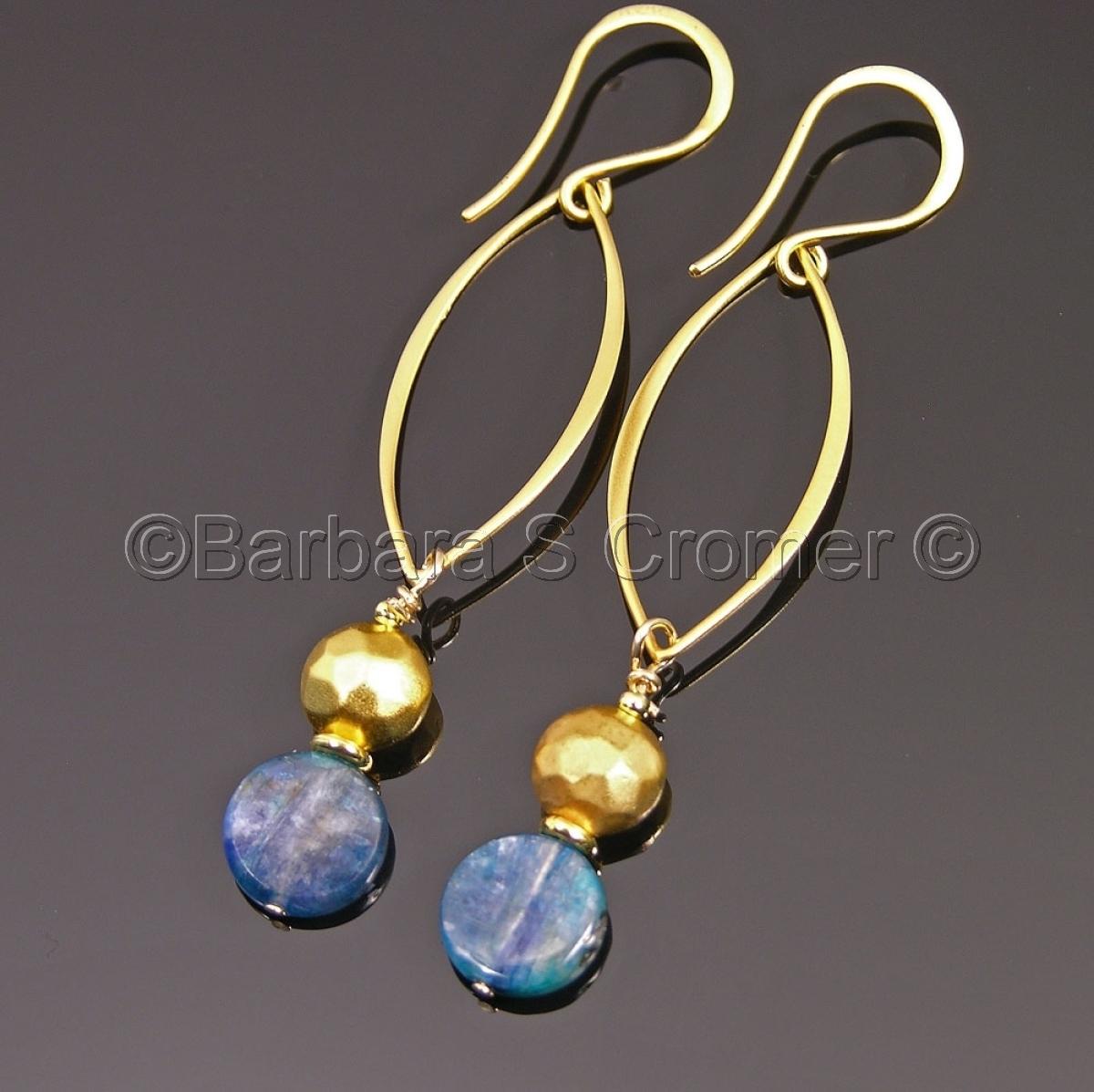 Vermeil and kyanite marquise drop earrings (large view)