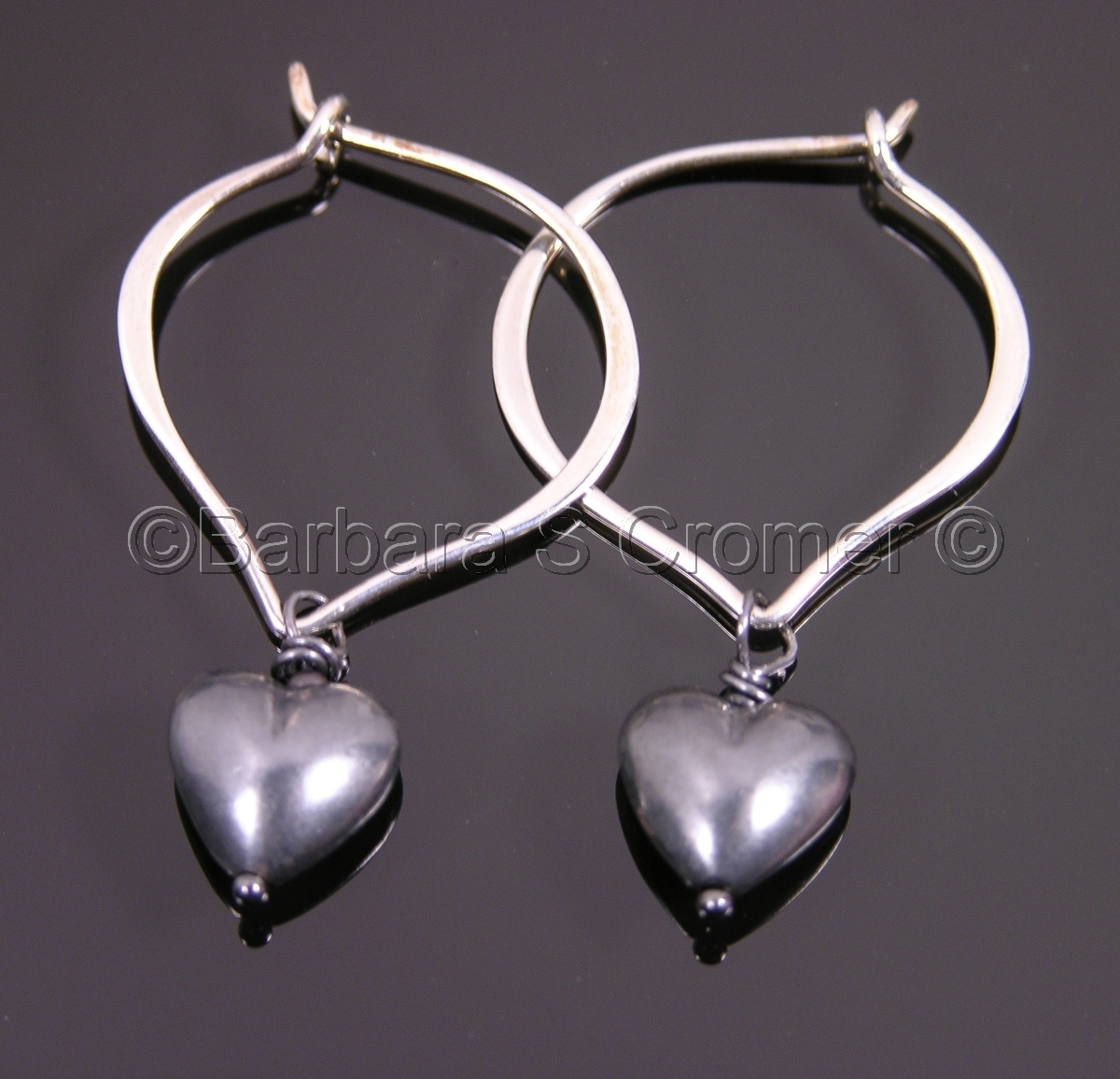 Satin black silver hearts, Sterling silver, lotus ear wires, 2 inches overall (large view)