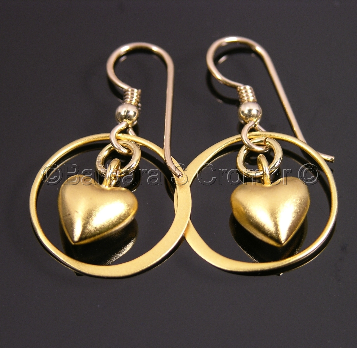 Hearts, golden, vermeil encircled, handmade vermeil, gold filled, french ear wires, 1.25 inches overall (large view)