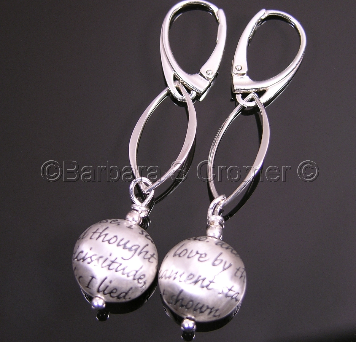 earrings, bead with a love sonnet ,marquise shape link,  modern euro-style lever back ear wires (large view)