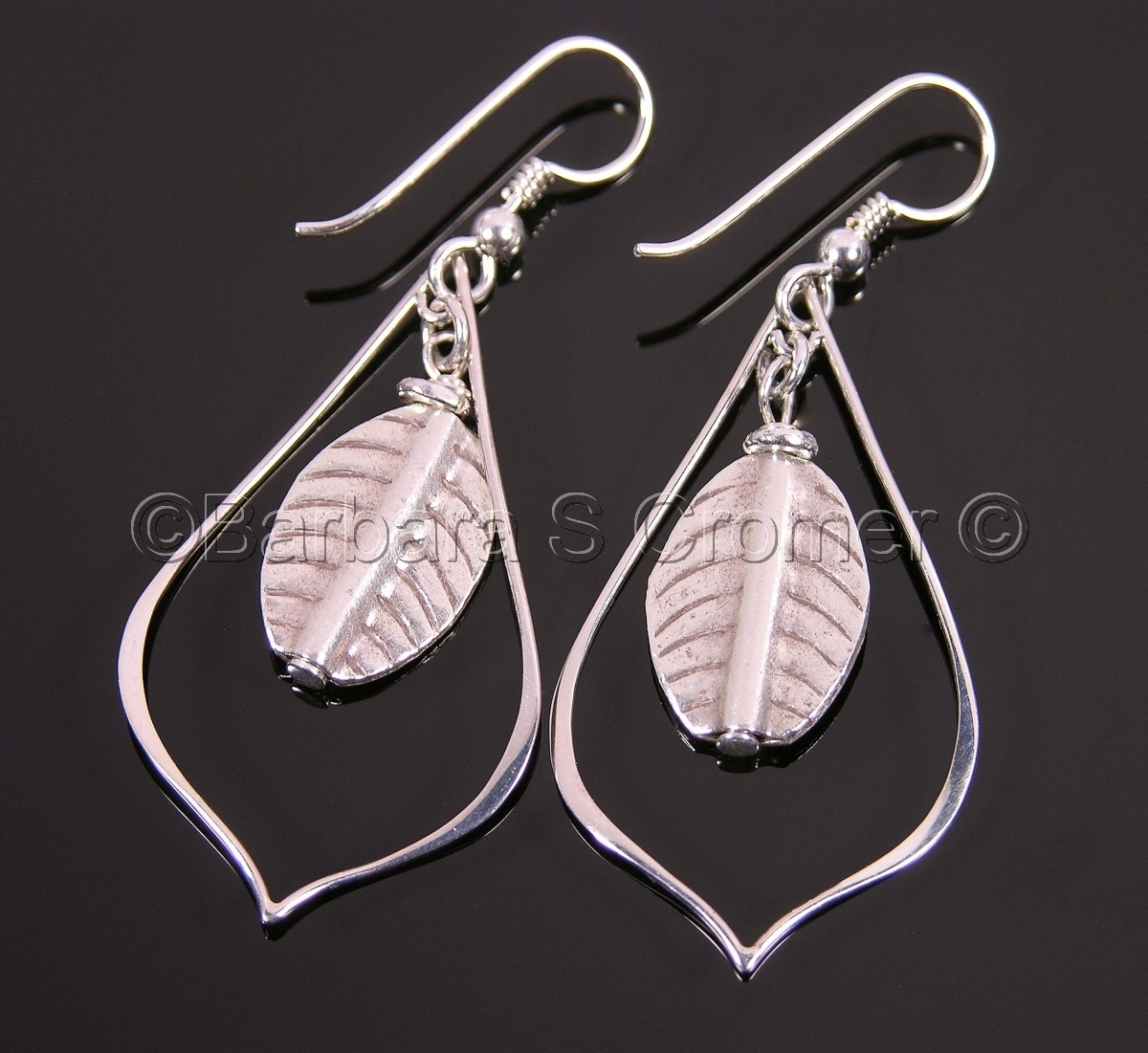 Thai Hill Tribe, handmade, fine silver leaves, Sterling silver arabesques,  Sterling french ear wires,    (large view)