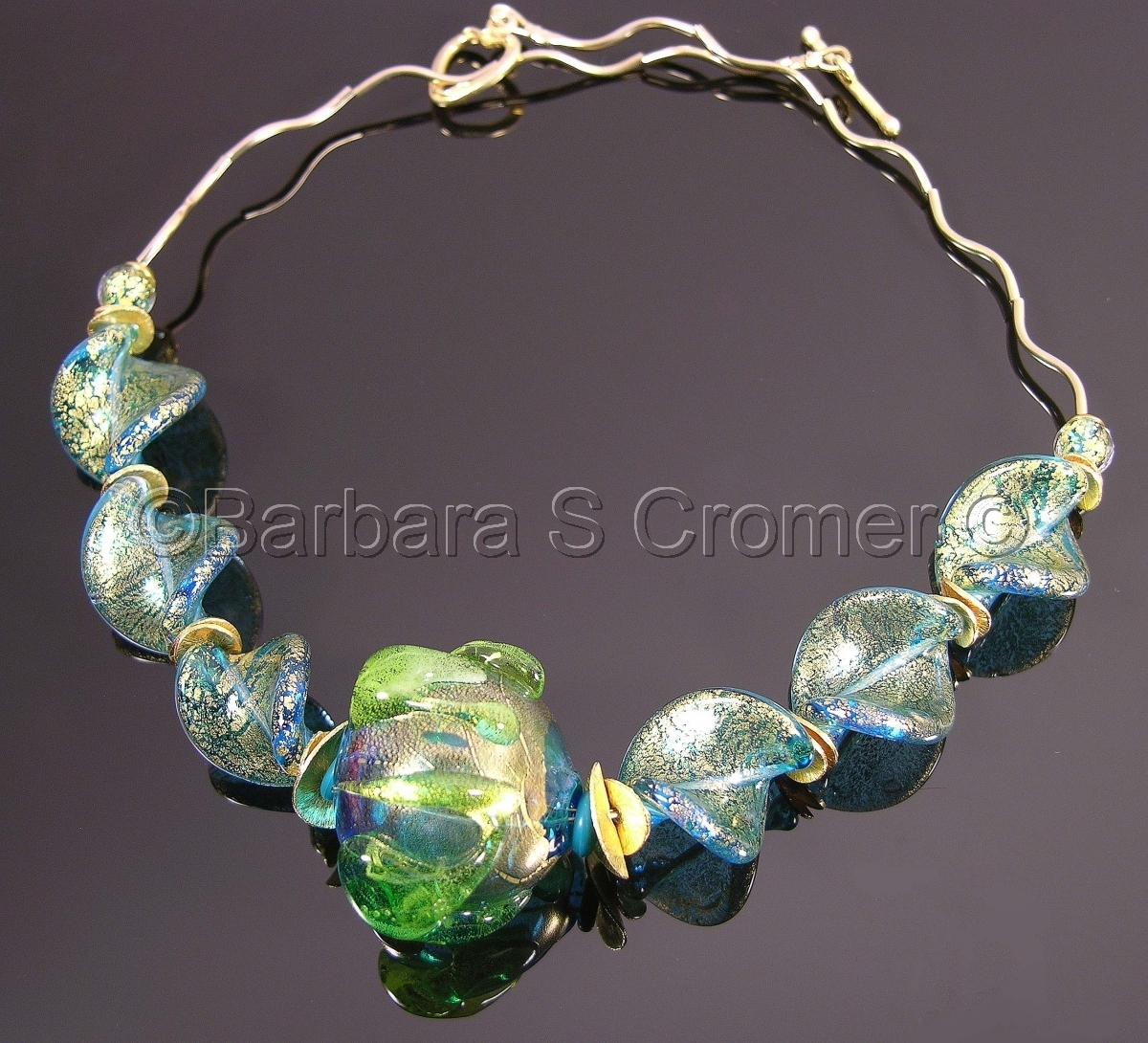 Dreams of the Sea III, aqua and golden Venetian necklace (large view)