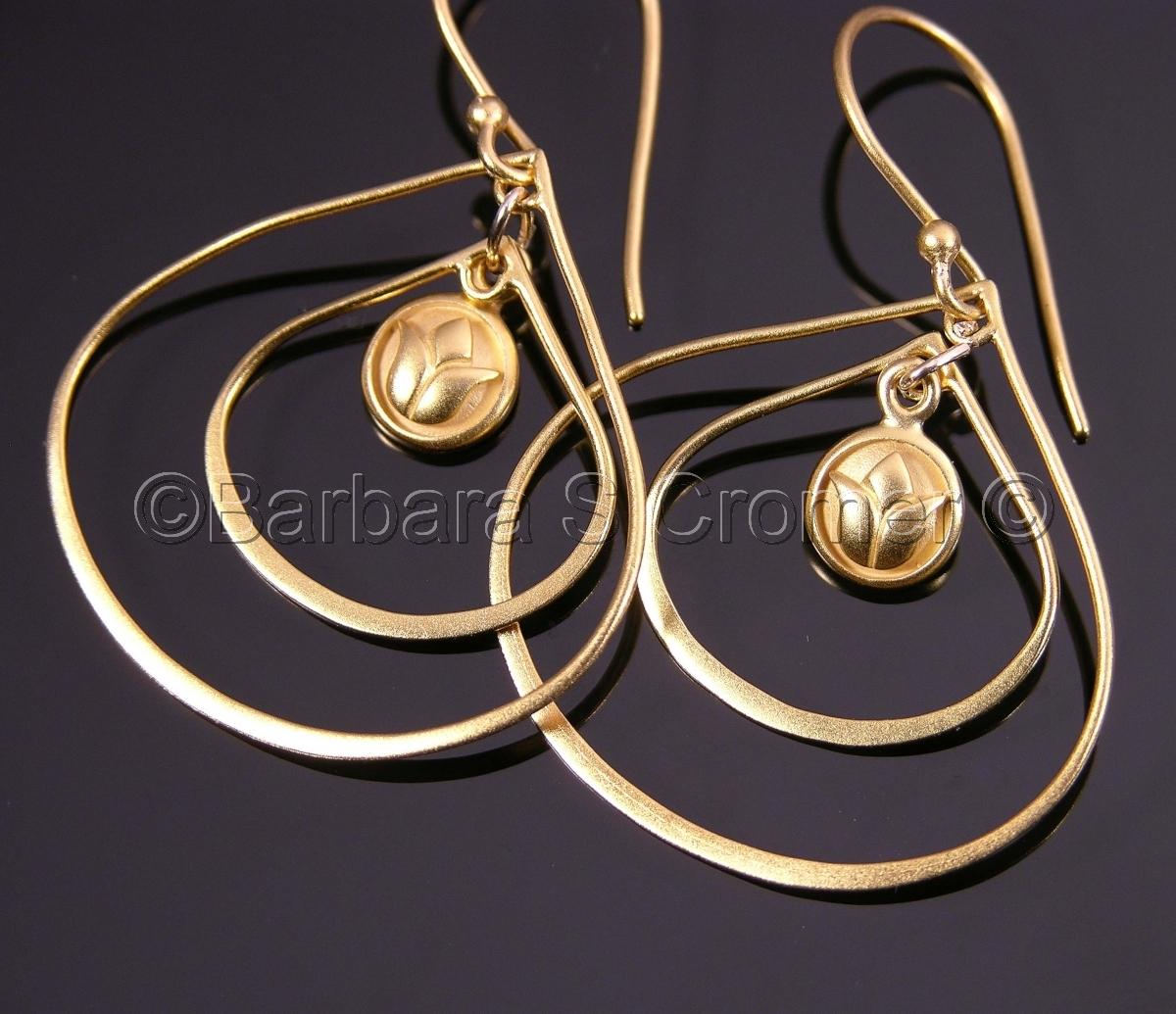 Handmade, vermeil teardrops, in two sizes,  handmade vermeil lotus charm, vermeil french ear wires. (large view)