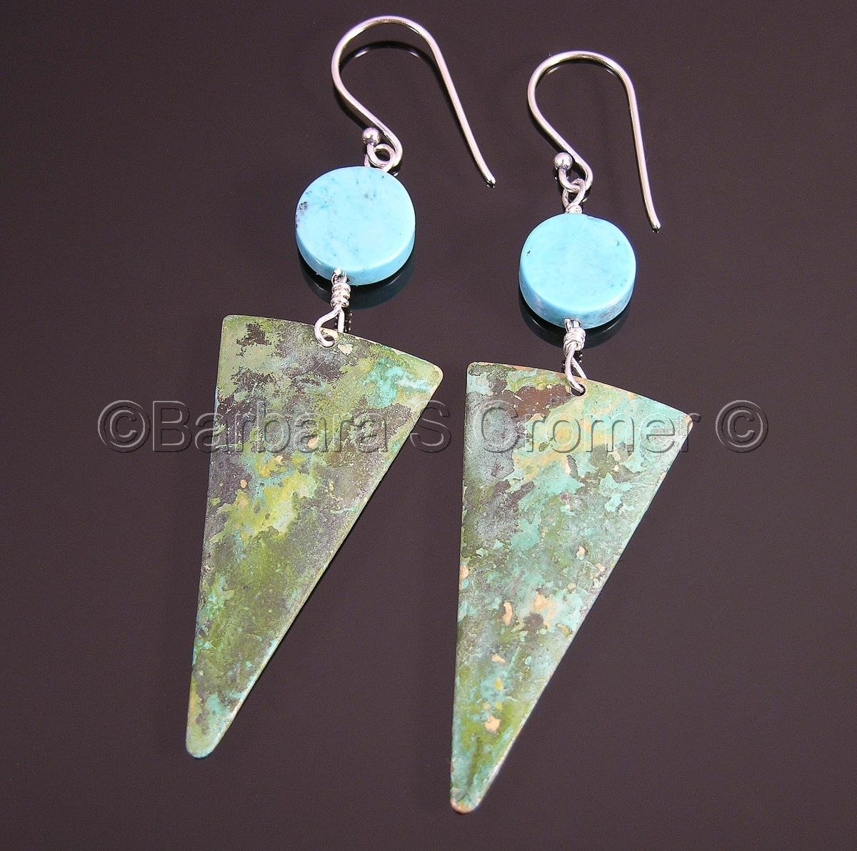 Modern, geometric earrings, inverted, verdigris,  oxidized brass triangles, Sterling silver to Turquoise disc beads,  Sterling silver french ear wires. (large view)