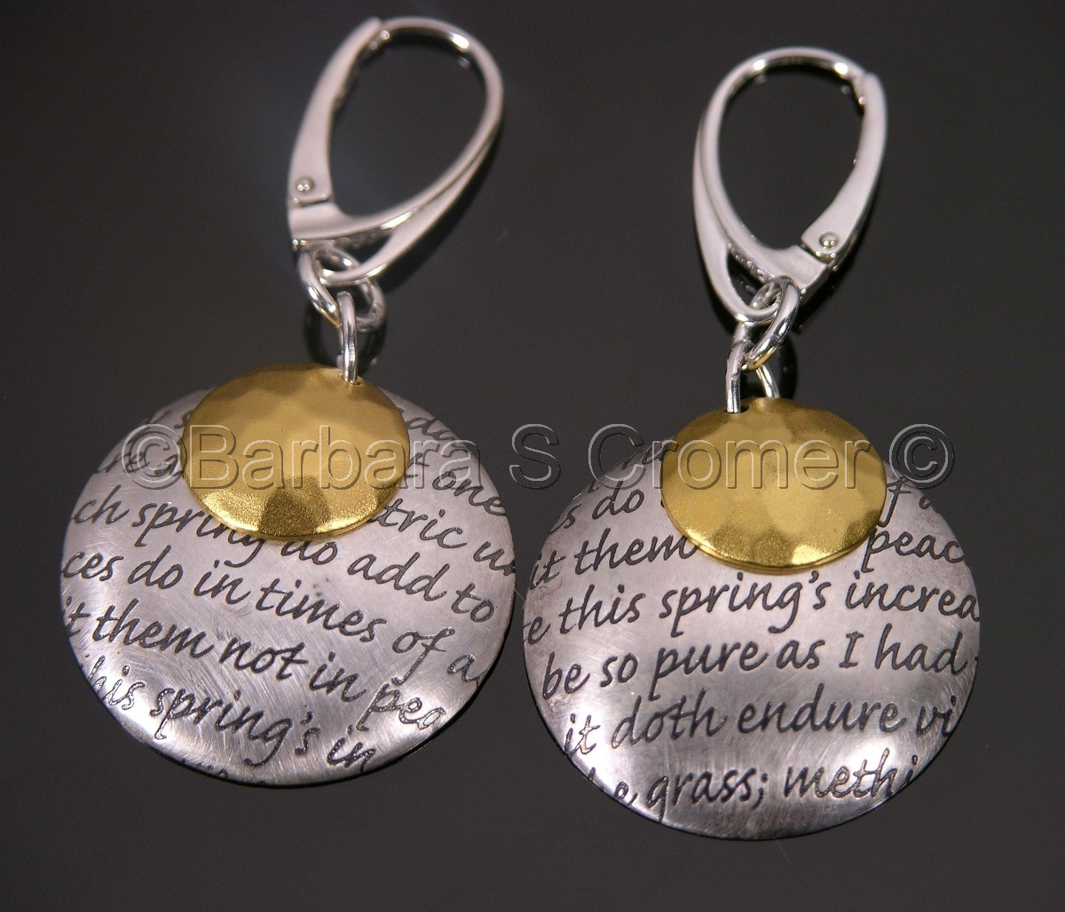 Love sonnet earrings in Sterling and vermeil (large view)