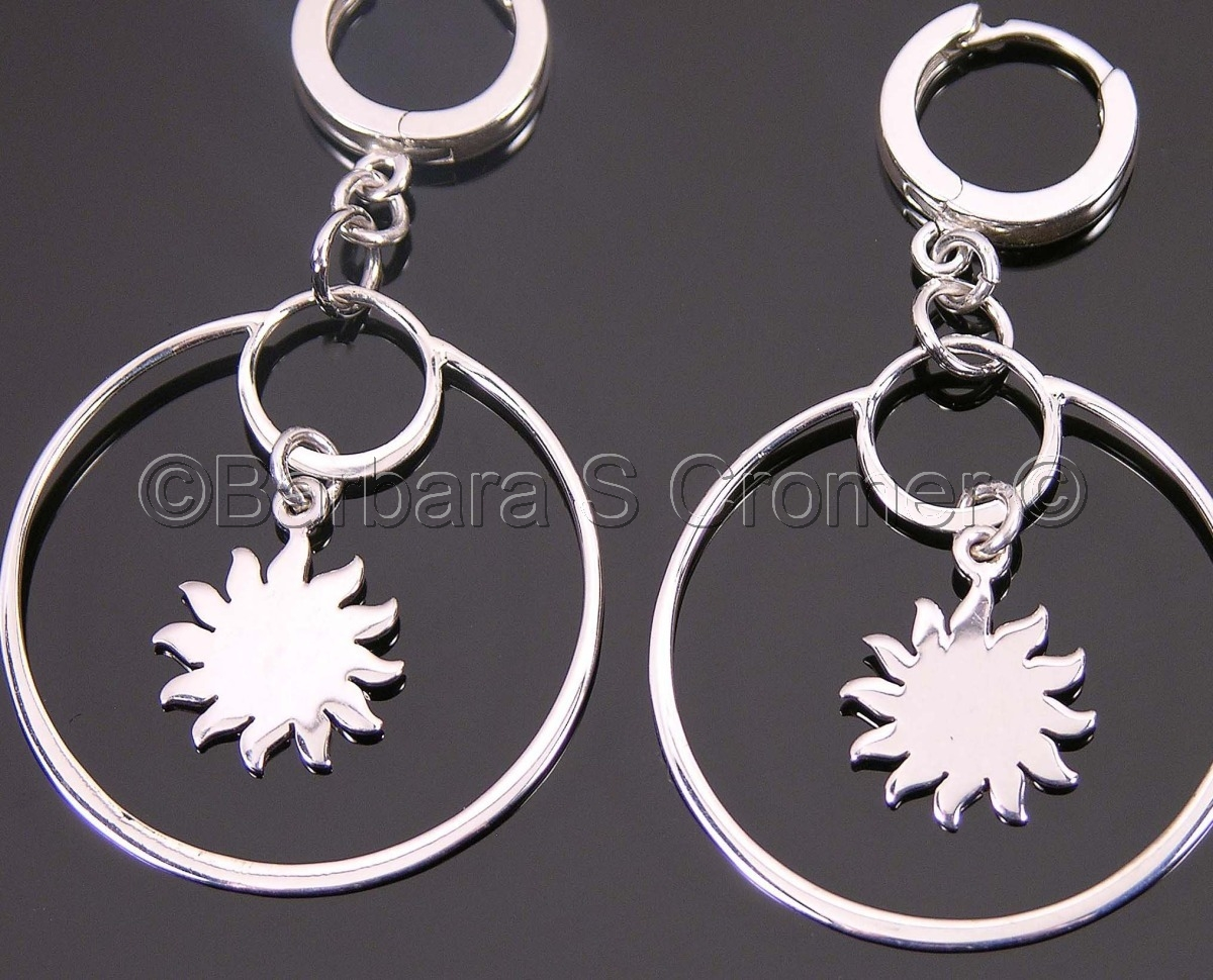 Silver ring around the sun  earrings (large view)