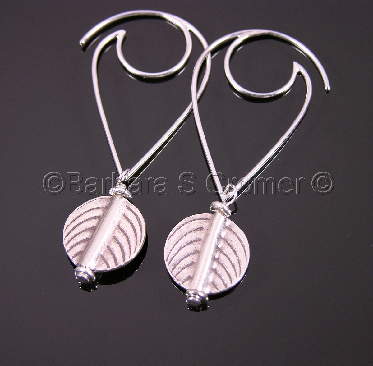 Modern silver leaf earrings (large view)