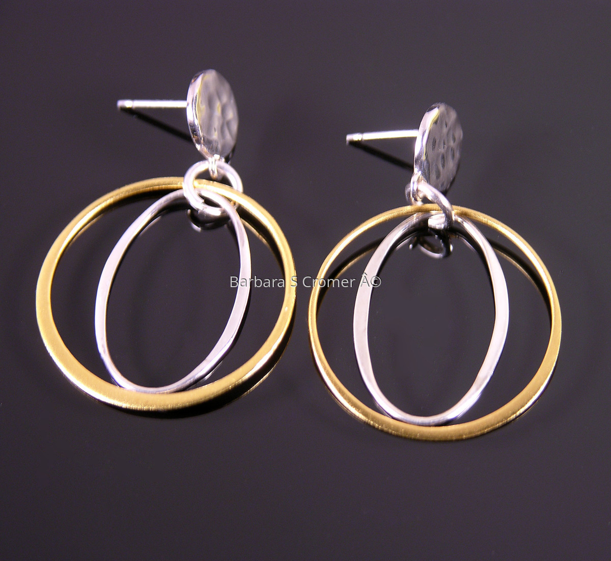 Vermeil ring + silver oval earrings (large view)