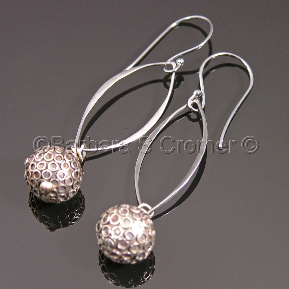 Black Balinese silver orb earrings (large view)