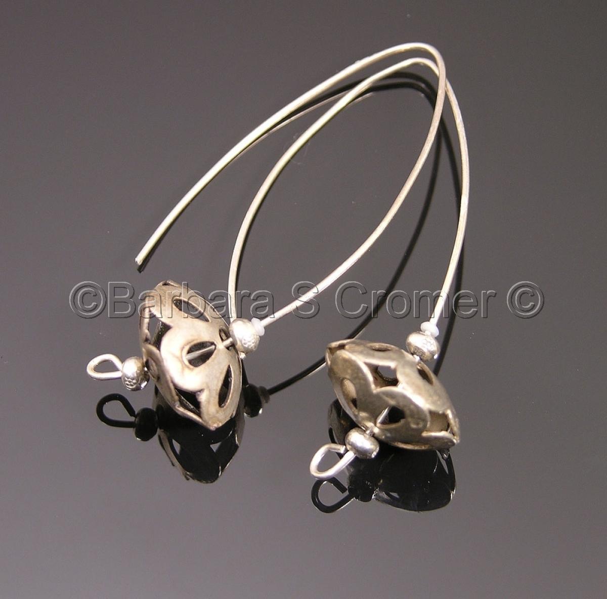 vintage, modern, silver floral drop earrings (large view)