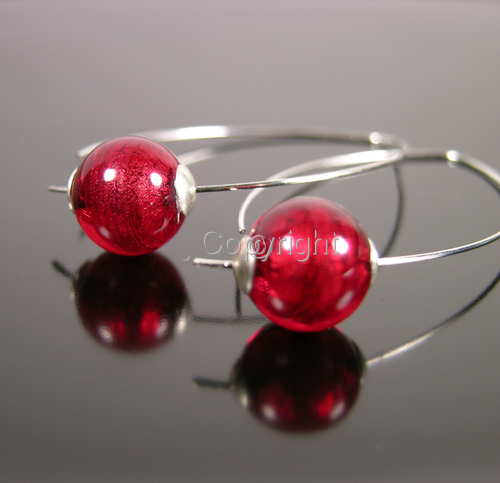 ruby red Venetian globes on silver arcs