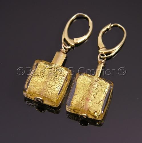 Gold on gold Venetian lampwork squares