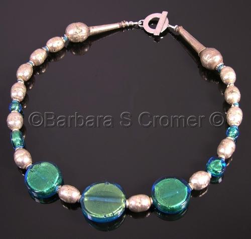 Aqua Venetian lampwork with vintage tribal beads