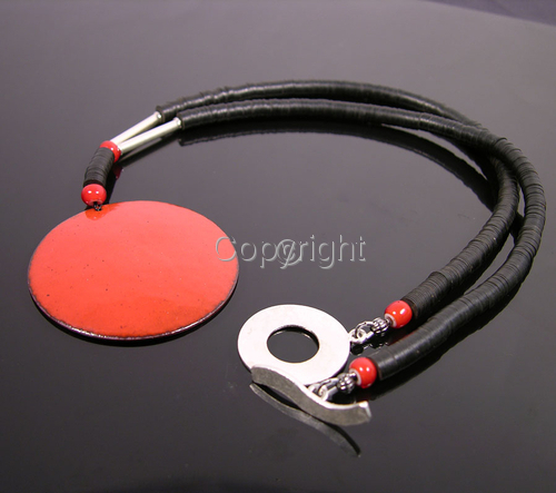Bold red enamel penant with Thai silver + trade beads