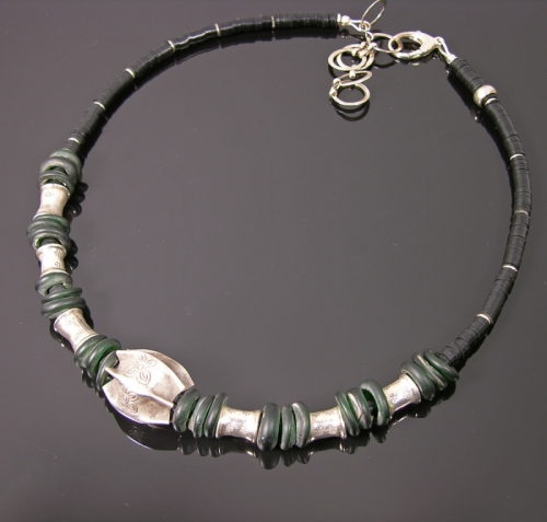 Thai silver + black vulcanite necklace