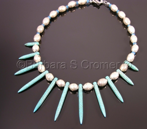 Turquoise daggers + Silver trade beads