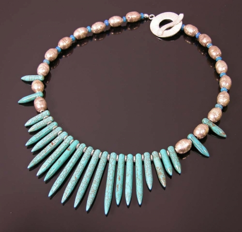 Silver prayer beads + turquoise daggers (large view)