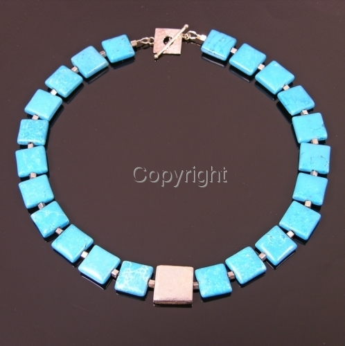 Turquoise + Thai silver on the Square necklace