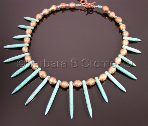 Daggers of turquoise with vintage copper prayer beads