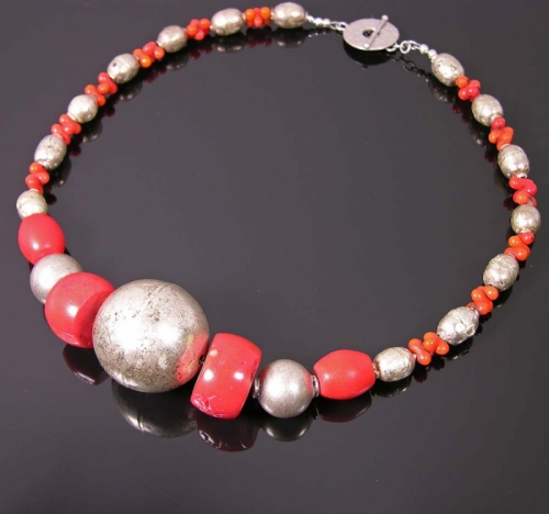 Red coral and silver trade beads