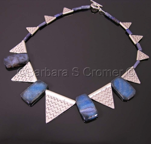 Geometic necklace of Blue agate + Thai silver