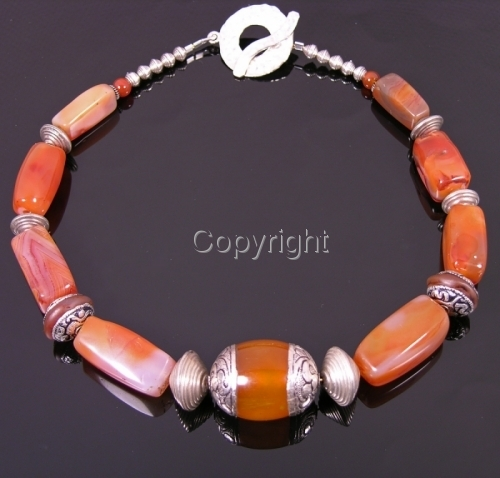 Exotic Amber, Carnelian and silver necklace