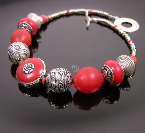 Red Copal Tibetan beads + Masai beads with Tibetan + Thai silver