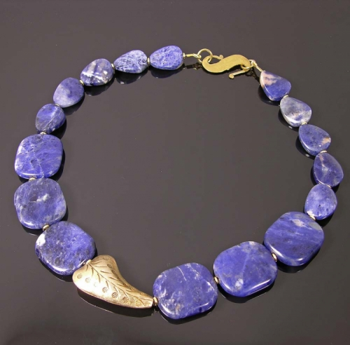 Lapis Lazuli, Vermeil and sodalite necklace