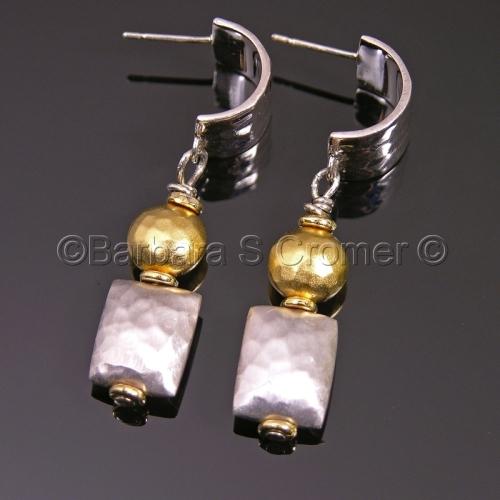 Modern silver + vermeil earrings