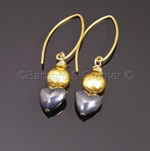 Black silver heart + vermeil earrings
